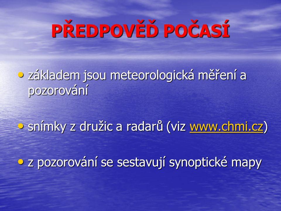 PŘEDPOVĚĎ POČASÍ základem jsou meteorologická měření a pozorování základem jsou meteorologická měření a pozorování snímky z družic a radarů (viz www.c