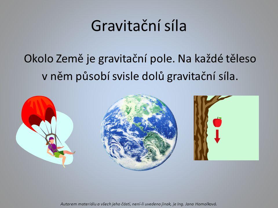 Velikost gravitační síly -závisí na hmotnosti těles – čím větší hmotnost, tím větší gravitační síla -závisí na vzdálenosti od Země – čím dále je těleso od Země, tím je gravitační síla menší -sílu označujeme F g Autorem materiálu a všech jeho částí, není-li uvedeno jinak, je Ing.