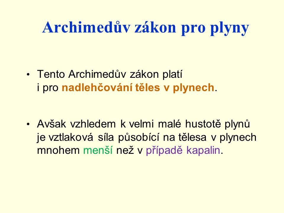 Archimedův zákon pro plyny Tento Archimedův zákon platí i pro nadlehčování těles v plynech.