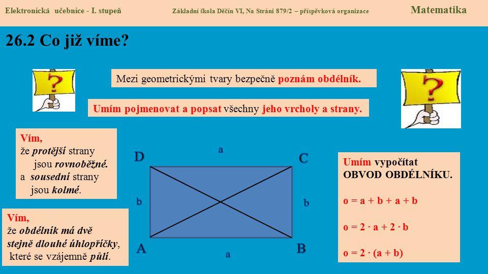 Elektronická učebnice - I. stupeň Základní škola Děčín VI, Na Stráni 879/2 – příspěvková organizace Matematika 26.2 Co již víme? Mezi geometrickými tv