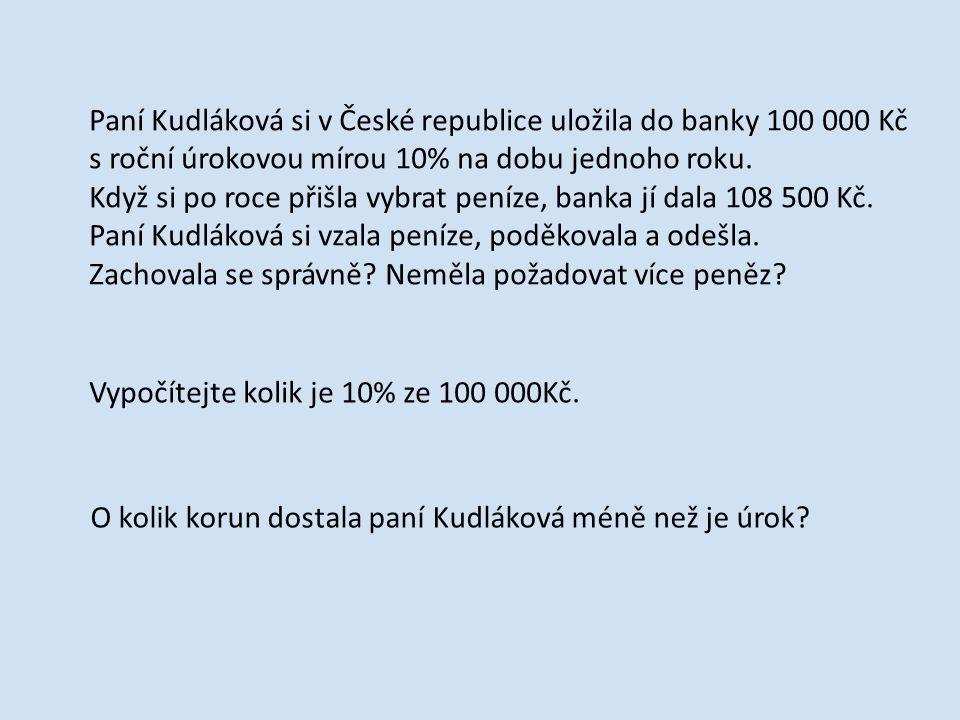 Paní Kudláková si v České republice uložila do banky 100 000 Kč s roční úrokovou mírou 10% na dobu jednoho roku.