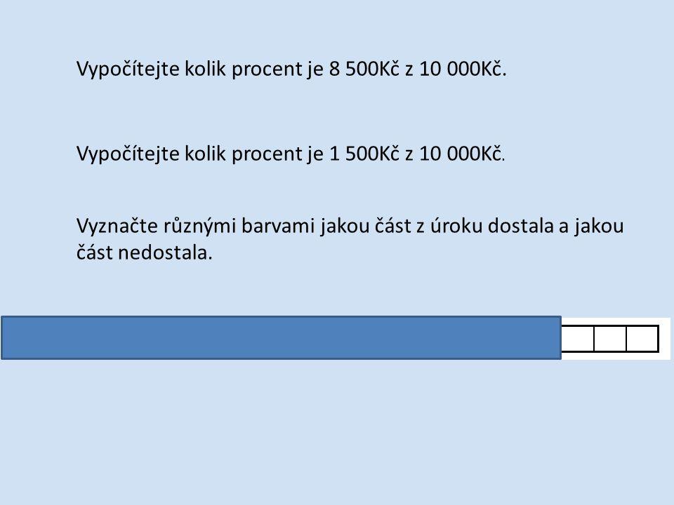 Vypočítejte kolik procent je 8 500Kč z 10 000Kč. Vypočítejte kolik procent je 1 500Kč z 10 000Kč.