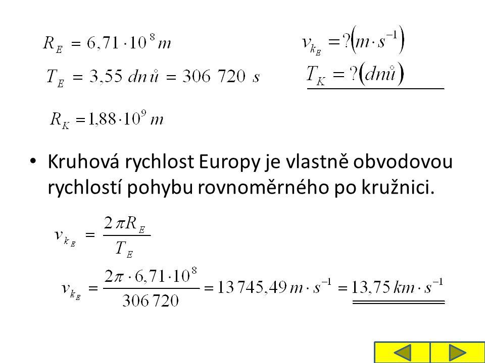 Kruhová rychlost Europy je vlastně obvodovou rychlostí pohybu rovnoměrného po kružnici.