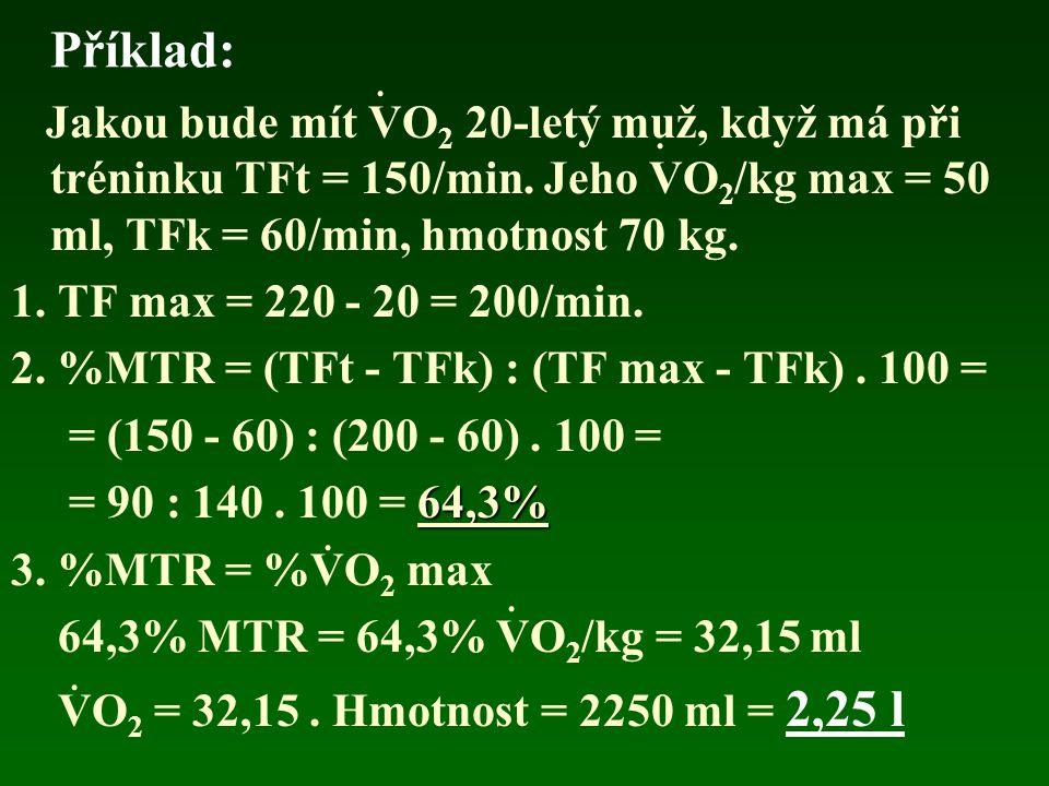 Příklad: Jakou bude mít VO 2 20-letý muž, když má při tréninku TFt = 150/min. Jeho VO 2 /kg max = 50 ml, TFk = 60/min, hmotnost 70 kg. 1. TF max = 220