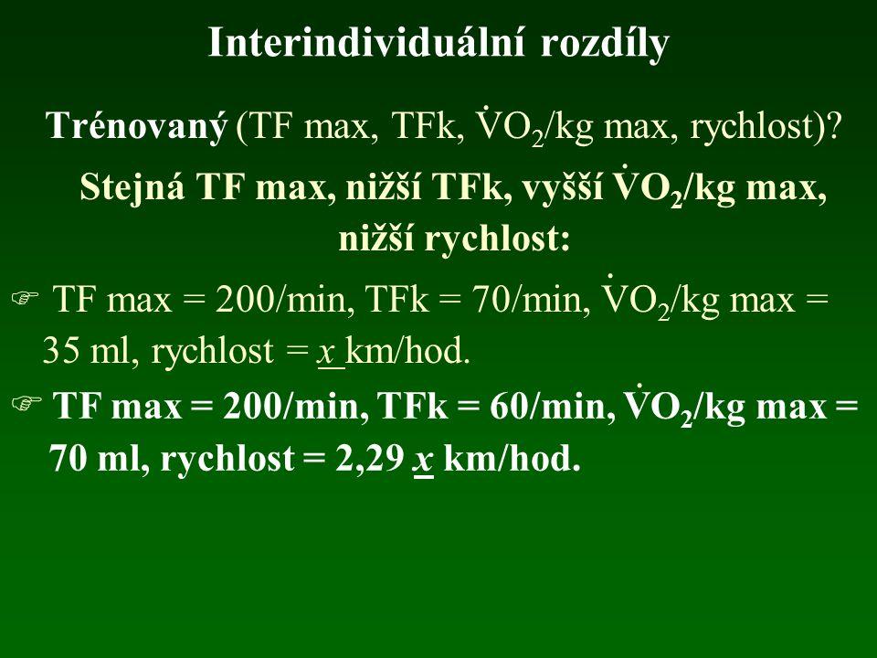 Interindividuální rozdíly Trénovaný (TF max, TFk, VO 2 /kg max, rychlost)? Stejná TF max, nižší TFk, vyšší VO 2 /kg max, nižší rychlost:  TF max = 20