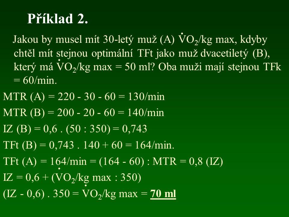 Příklad 2. Jakou by musel mít 30-letý muž (A) VO 2 /kg max, kdyby chtěl mít stejnou optimální TFt jako muž dvacetiletý (B), který má VO 2 /kg max = 50