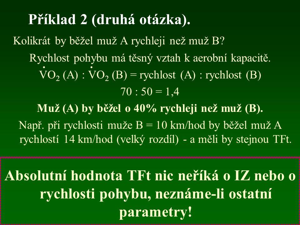 Příklad 2 (druhá otázka). Kolikrát by běžel muž A rychleji než muž B? Rychlost pohybu má těsný vztah k aerobní kapacitě. VO 2 (A) : VO 2 (B) = rychlos
