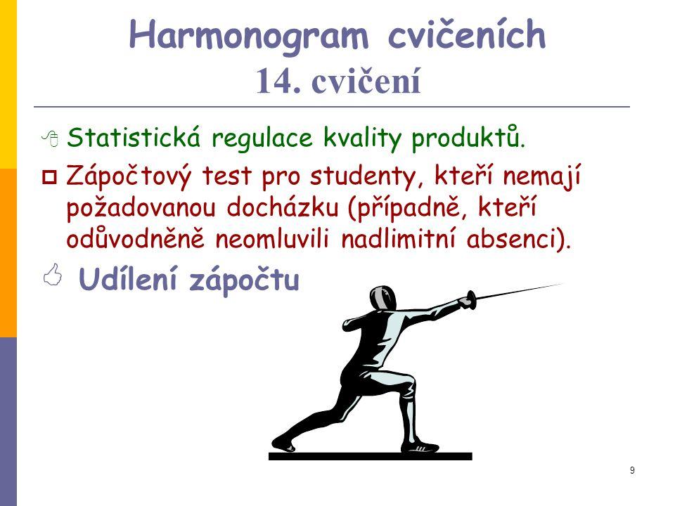 8 Harmonogram cvičeních 12.-13. cvičení  Prezentace- seminární práce, diskuse nad výsledkem návrhové části semestrální práce.  Řízení kvality produk