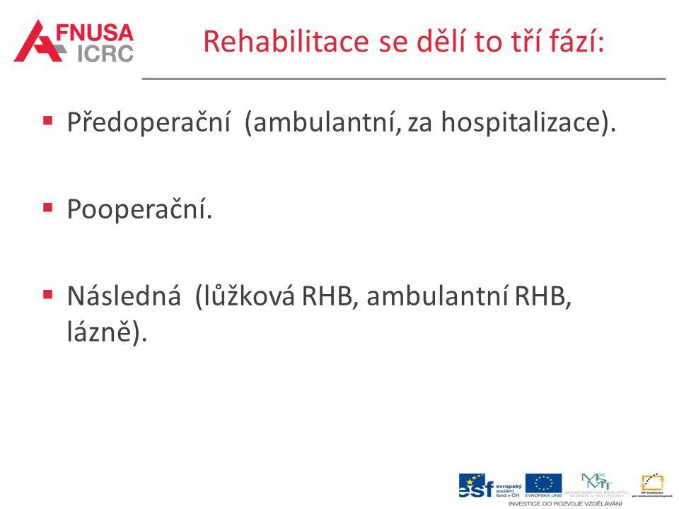 Rehabilitace se dělí to tří fází:  Předoperační (ambulantní, za hospitalizace).  Pooperační.  Následná (lůžková RHB, ambulantní RHB, lázně).