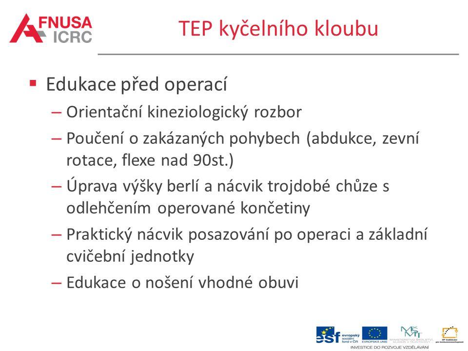TEP kyčelního kloubu  Edukace před operací – Orientační kineziologický rozbor – Poučení o zakázaných pohybech (abdukce, zevní rotace, flexe nad 90st.