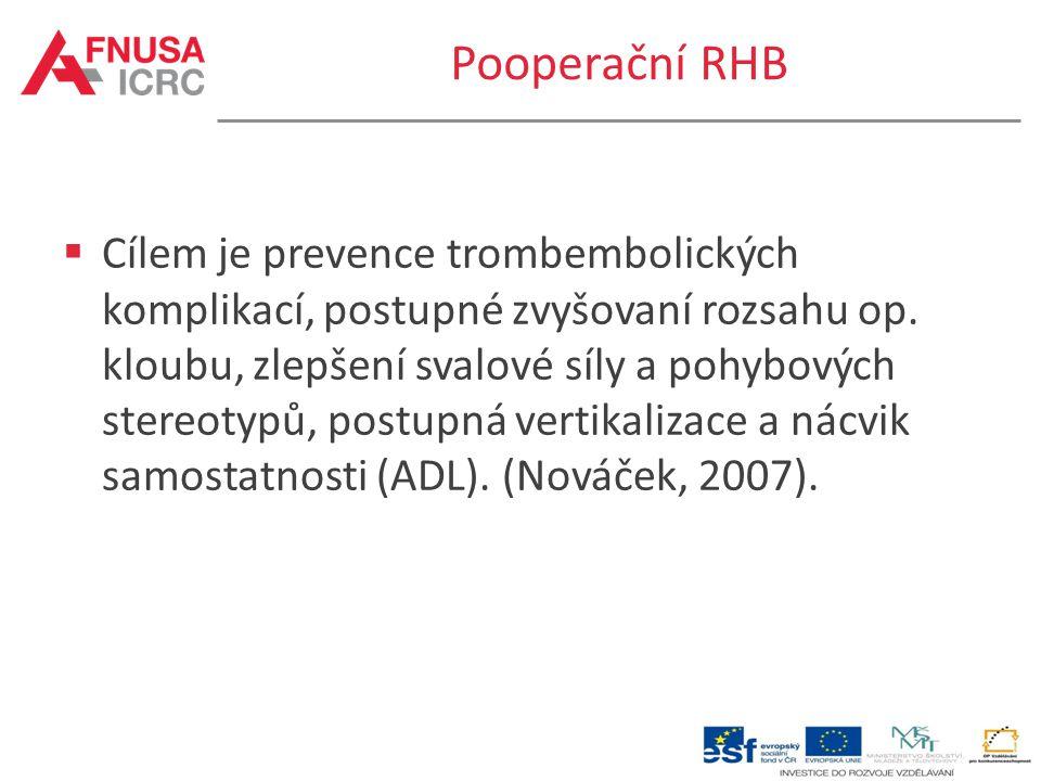 Pooperační RHB  Cílem je prevence trombembolických komplikací, postupné zvyšovaní rozsahu op. kloubu, zlepšení svalové síly a pohybových stereotypů,