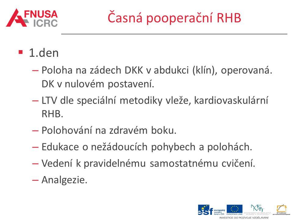 Časná pooperační RHB  1.den – Poloha na zádech DKK v abdukci (klín), operovaná. DK v nulovém postavení. – LTV dle speciální metodiky vleže, kardiovas