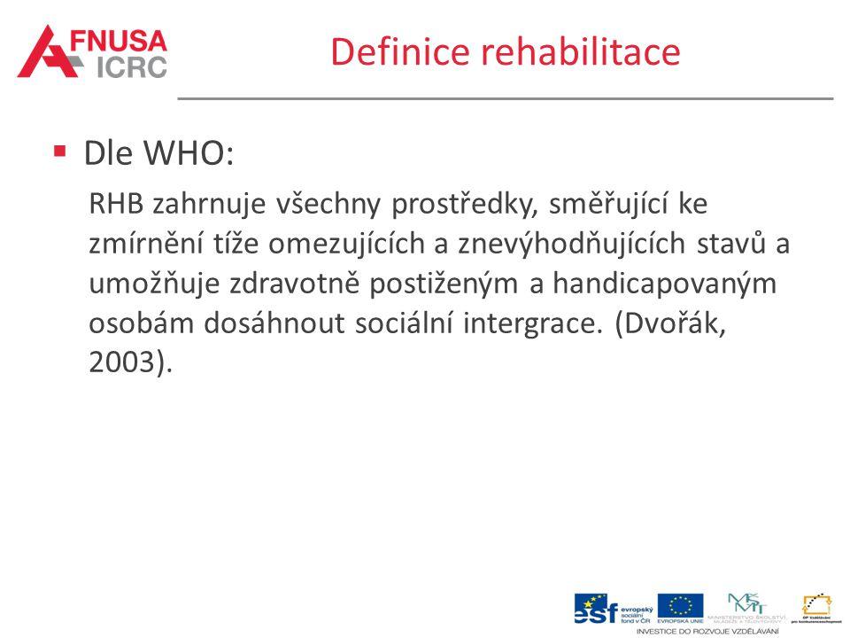 Definice rehabilitace  Dle Jandy: Rehabilitace představuje soubor opatření, která vedou k co nejoptimálnější a nejrychlejší resocializaci člověka postiženého na zdraví následkem nemoci, úrazu nebo vrozené vady.