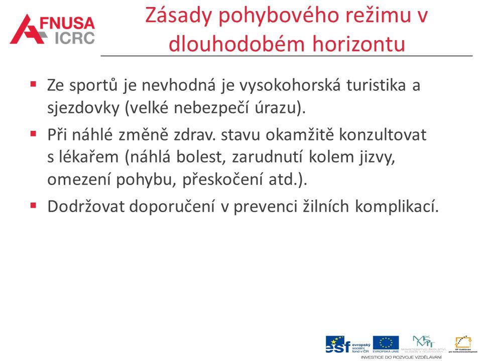 Zásady pohybového režimu v dlouhodobém horizontu  Ze sportů je nevhodná je vysokohorská turistika a sjezdovky (velké nebezpečí úrazu).  Při náhlé zm