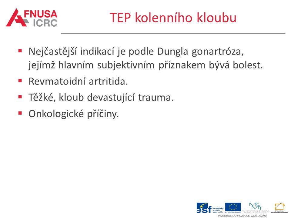 TEP kolenního kloubu  Nejčastější indikací je podle Dungla gonartróza, jejímž hlavním subjektivním příznakem bývá bolest.  Revmatoidní artritida. 