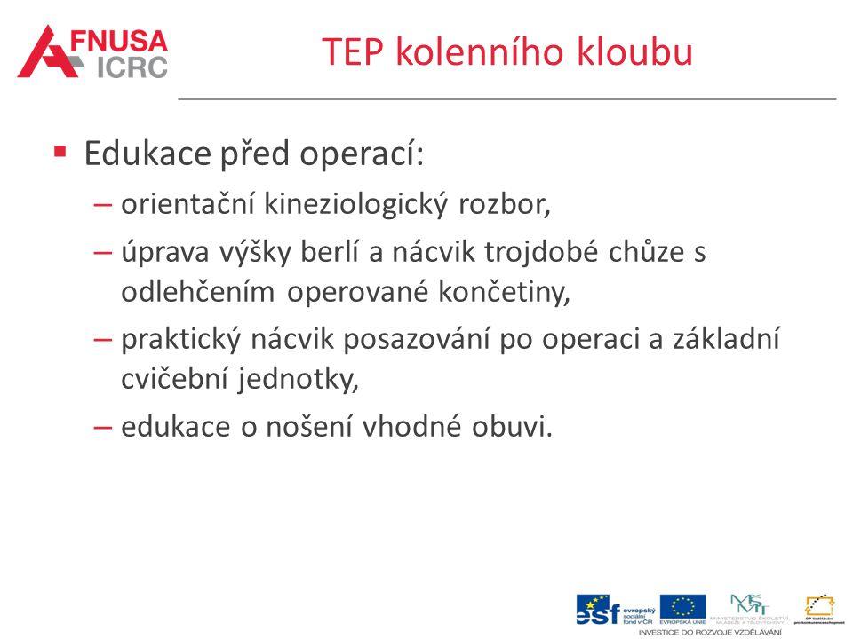 TEP kolenního kloubu  Edukace před operací: – orientační kineziologický rozbor, – úprava výšky berlí a nácvik trojdobé chůze s odlehčením operované k