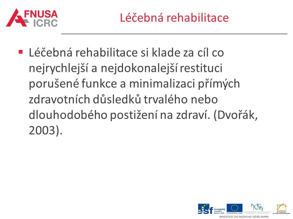 Léčebná rehabilitace  Léčebná rehabilitace si klade za cíl co nejrychlejší a nejdokonalejší restituci porušené funkce a minimalizaci přímých zdravotn