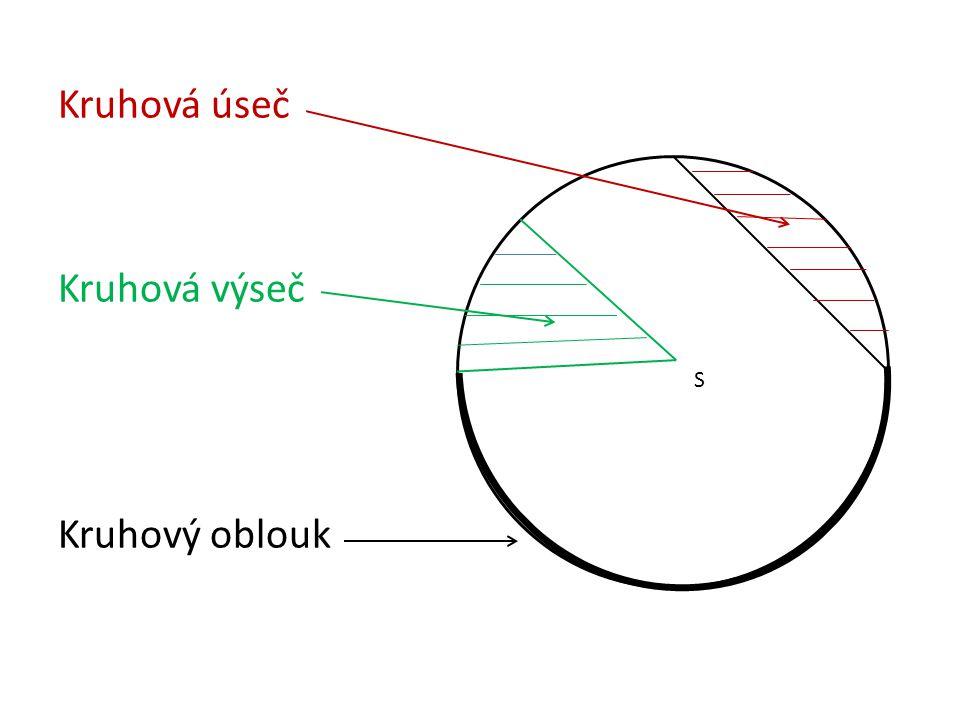 Kruhová úseč Kruhová výseč Kruhový oblouk S