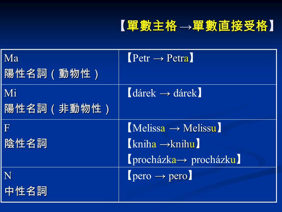 【單數主格 → 單數直接受格】 【單數主格 → 單數直接受格】 Ma陽性名詞(動物性) → Petra 【 Petr → Petra 】 Mi陽性名詞(非動物性) → 【 dárek → dárek 】 F陰性名詞 → Melissu 【 Melissa → Melissu 】 →knihu 【 kniha →knihu 】 → 【 procházka→ procházku 】 N中性名詞 → pero 【 pero → pero 】
