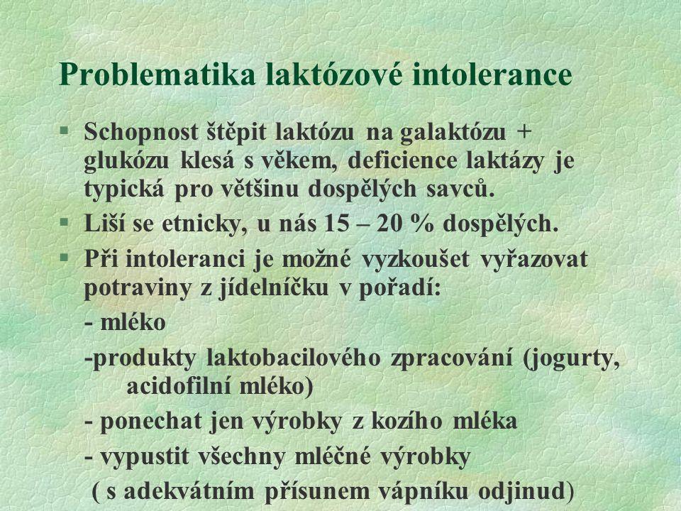 Problematika laktózové intolerance §Schopnost štěpit laktózu na galaktózu + glukózu klesá s věkem, deficience laktázy je typická pro většinu dospělých