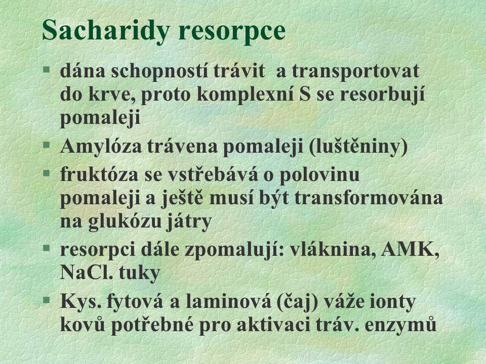Sacharidy resorpce §dána schopností trávit a transportovat do krve, proto komplexní S se resorbují pomaleji §Amylóza trávena pomaleji (luštěniny) §fru