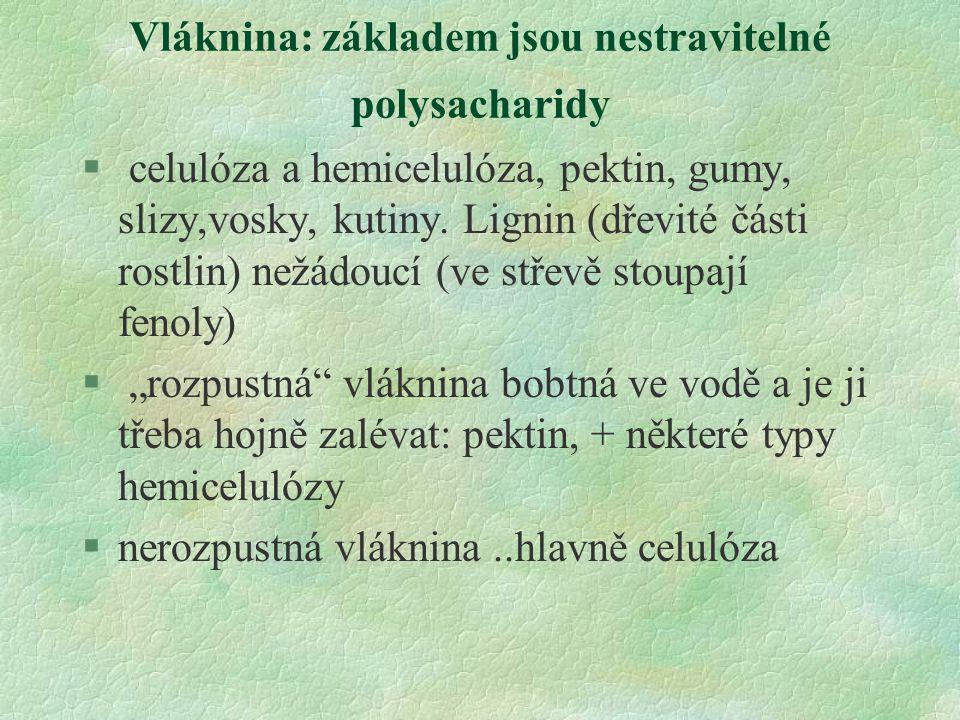 Vláknina: základem jsou nestravitelné polysacharidy § celulóza a hemicelulóza, pektin, gumy, slizy,vosky, kutiny. Lignin (dřevité části rostlin) nežád