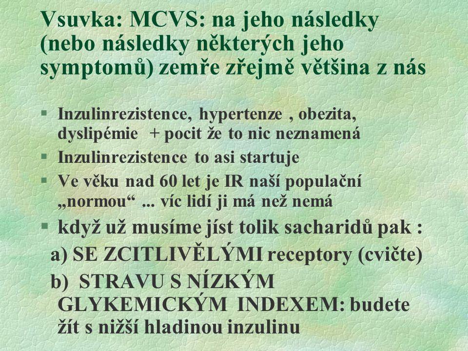"""Vsuvka: MCVS: na jeho následky (nebo následky některých jeho symptomů) zemře zřejmě většina z nás §Inzulinrezistence, hypertenze, obezita, dyslipémie + pocit že to nic neznamená §Inzulinrezistence to asi startuje §Ve věku nad 60 let je IR naší populační """"normou ..."""