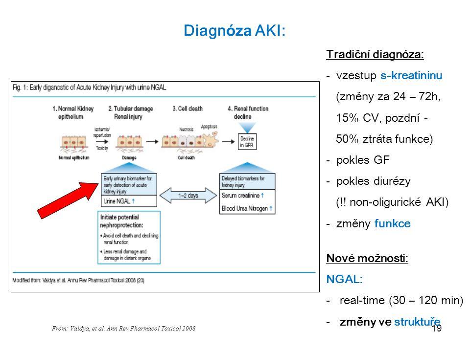 19 Diagn óza AKI: From: Vaidya, et al. Ann Rev Pharmacol Toxicol 2008 NGAL Tradiční diagnóza: - vzestup s-kreatininu (změny za 24 – 72h, 15% CV, pozdn