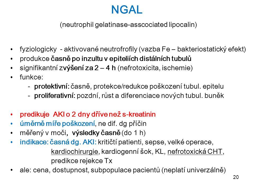 20 NGAL (neutrophil gelatinase-asscociated lipocalin) fyziologicky - aktivované neutrofrofily (vazba Fe – bakteriostatický efekt) produkce časně po in
