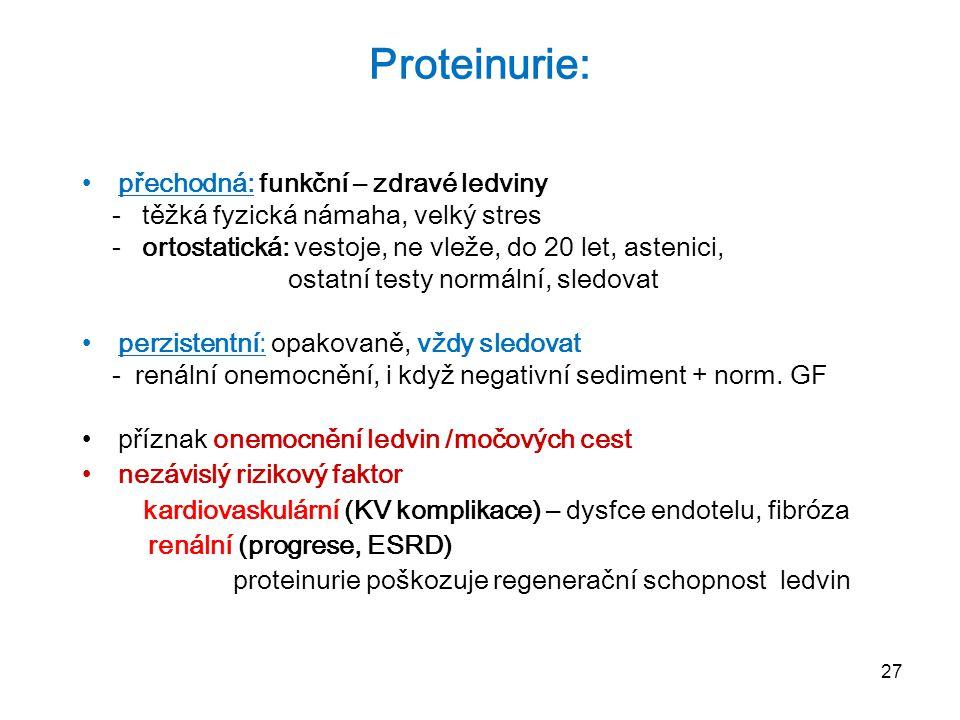 27 Proteinurie: přechodná: funkční – zdravé ledviny - těžká fyzická námaha, velký stres - ortostatická: vestoje, ne vleže, do 20 let, astenici, ostatn