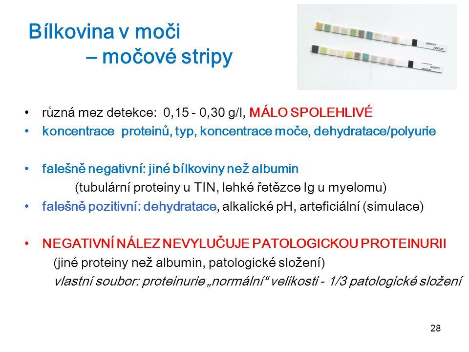 28 Bílkovina v moči – močové stripy různá mez detekce: 0,15 - 0,30 g/l, MÁLO SPOLEHLIVÉ koncentrace proteinů, typ, koncentrace moče, dehydratace/polyu