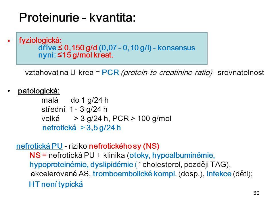 30 Proteinurie - kvantita: fyziologická: dříve ≤ 0,150 g/d (0,07 - 0,10 g/l) - konsensus nyní: ≤15 g/mol krea vztahovat na U-krea = PCR (protein-to-cr
