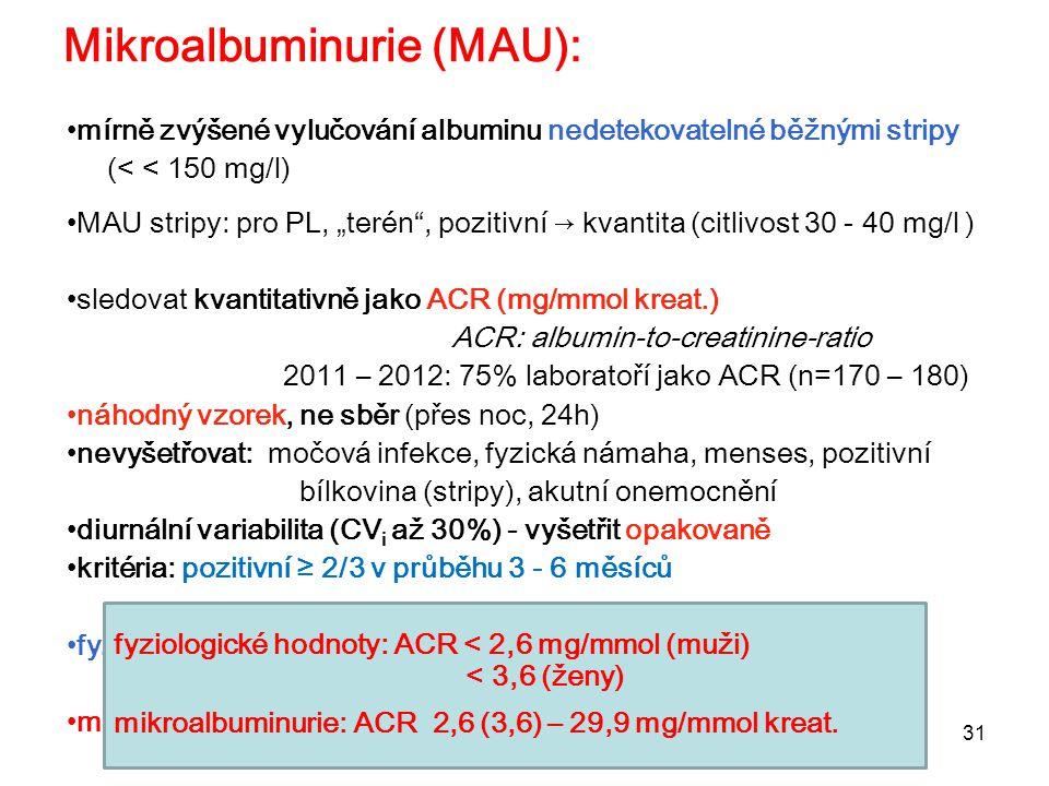 """31 Mikroalbuminurie (MAU): mírně zvýšené vylučování albuminu nedetekovatelné běžnými stripy (< < 150 mg/l) MAU stripy: pro PL, """"terén"""", pozitivní → kv"""