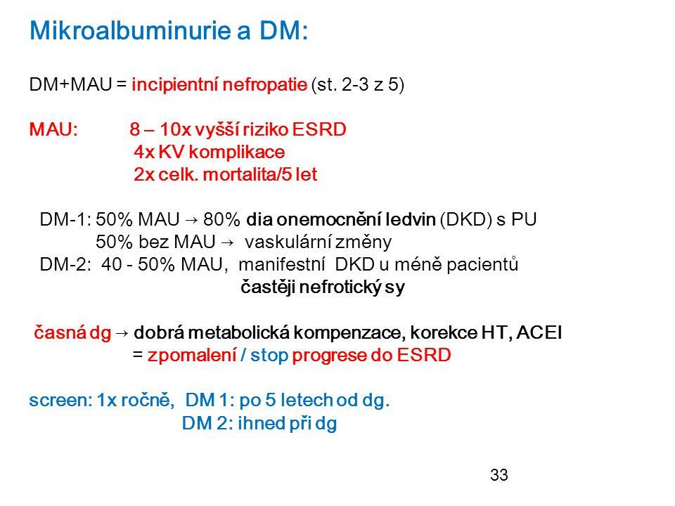 33 Mikroalbuminurie a DM: DM+MAU = incipientní nefropatie (st. 2-3 z 5) MAU: 8 – 10x vyšší riziko ESRD 4x KV komplikace 2x celk. mortalita/5 let DM-1: