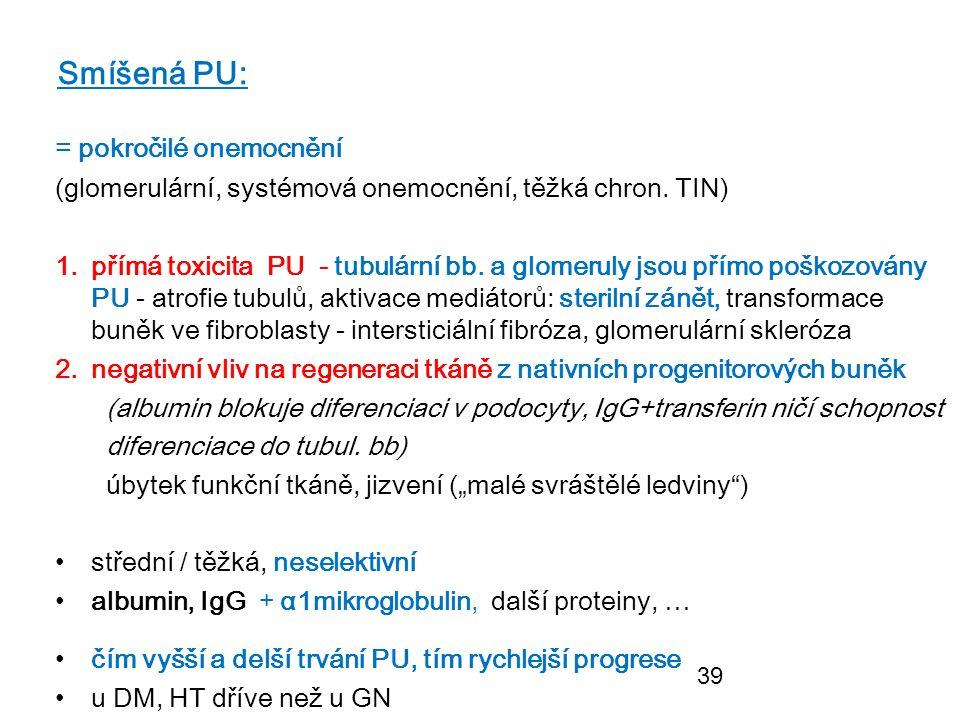 39 Smíšená PU: = pokročilé onemocnění (glomerulární, systémová onemocnění, těžká chron. TIN) 1.přímá toxicita PU - tubulární bb. a glomeruly jsou přím
