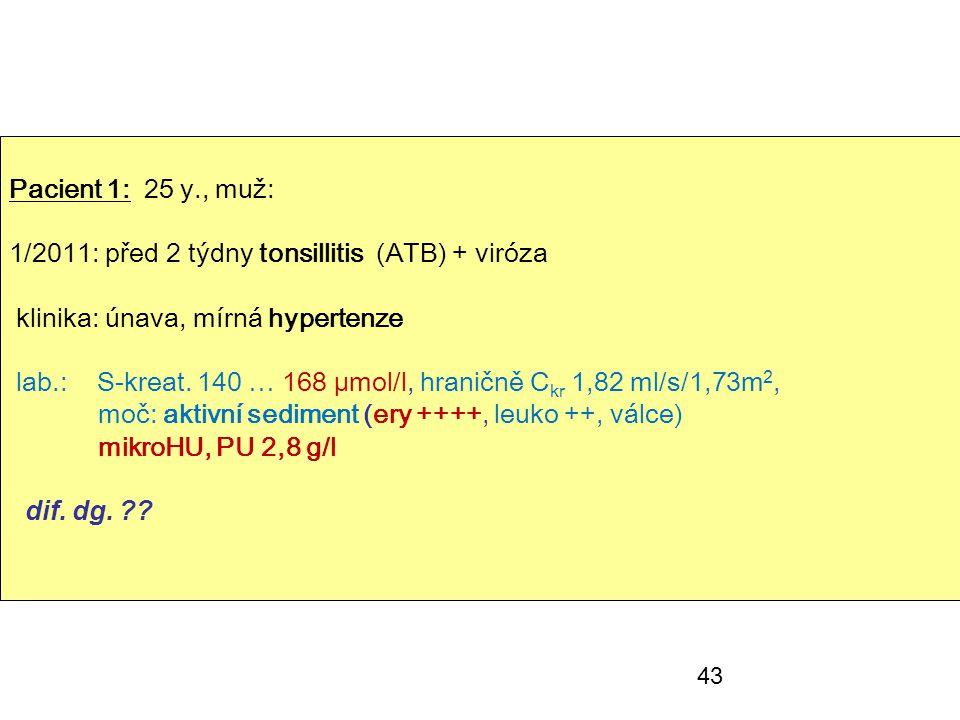 43 Pacient 1: 25 y., muž: 1/2011: před 2 týdny tonsillitis (ATB) + viróza klinika: únava, mírná hypertenze lab.: S-kreat. 140 … 168 µmol/l, hraničně C