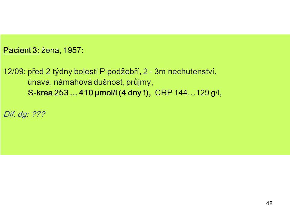 48 Pacient 3: žena, 1957: 12/09: před 2 týdny bolesti P podžebří, 2 - 3m nechutenství, únava, námahová dušnost, průjmy, S-krea 253... 410 µmol/l (4 dn