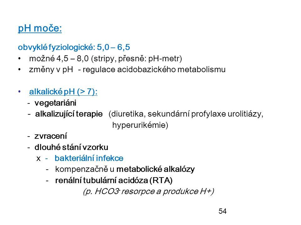 54 pH moče: obvyklé fyziologické: 5,0 – 6,5 možné 4,5 – 8,0 (stripy, přesně: pH-metr) změny v pH - regulace acidobazického metabolismu alkalické pH (>
