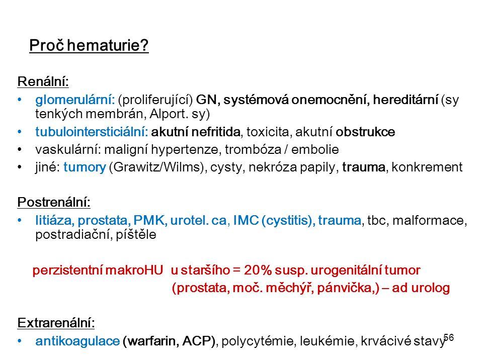 56 Proč hematurie? Renální: glomerulární: (proliferující) GN, systémová onemocnění, hereditární (sy tenkých membrán, Alport. sy) tubulointersticiální: