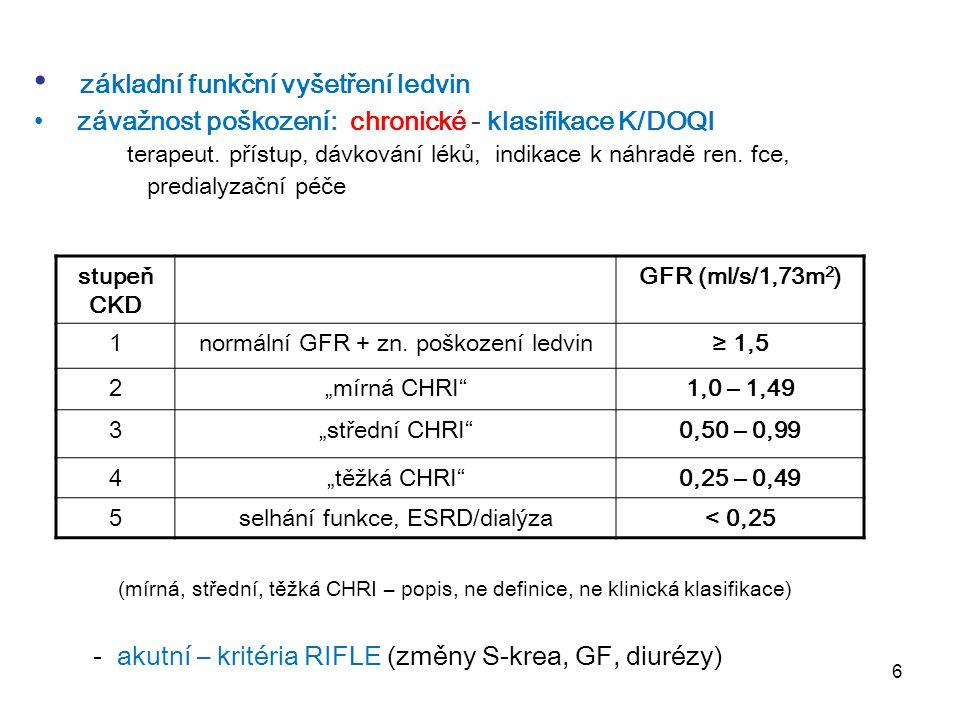 """6 stupeň CKD GFR (ml/s/1,73m 2 ) 1normální GFR + zn. poškození ledvin≥ 1,5 2""""mírná CHRI""""1,0 – 1,49 3""""střední CHRI""""0,50 – 0,99 4""""těžká CHRI""""0,25 – 0,49"""