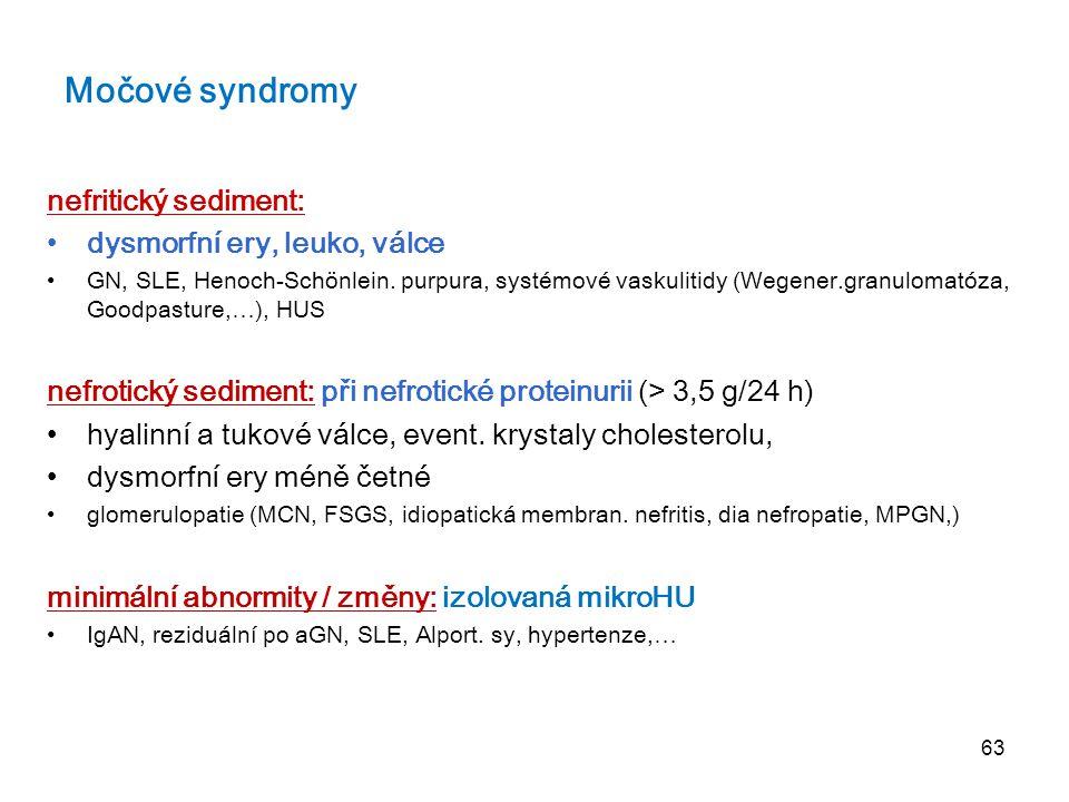 63 Močové syndromy nefritický sediment: dysmorfní ery, leuko, válce GN, SLE, Henoch-Schönlein. purpura, systémové vaskulitidy (Wegener.granulomatóza,