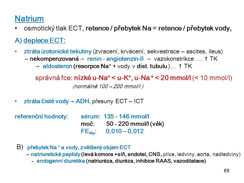 69 Natrium osmotický tlak ECT, retence / přebytek Na = retence / přebytek vody, A) deplece ECT: ztráta izotonické tekutiny (zvracení, krvácení, sekves