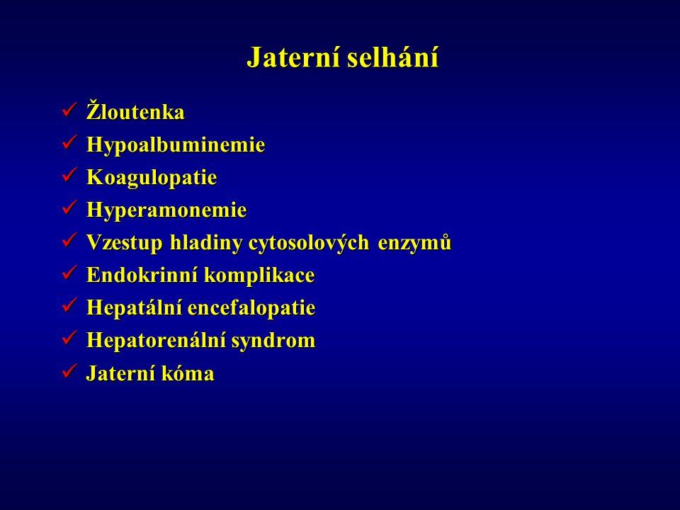 Jaterní selhání Žloutenka Žloutenka Hypoalbuminemie Hypoalbuminemie Koagulopatie Koagulopatie Hyperamonemie Hyperamonemie Vzestup hladiny cytosolových enzymů Vzestup hladiny cytosolových enzymů Endokrinní komplikace Endokrinní komplikace Hepatální encefalopatie Hepatální encefalopatie Hepatorenální syndrom Hepatorenální syndrom Jaterní kóma Jaterní kóma