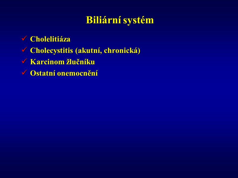 Biliární systém Cholelitiáza Cholelitiáza Cholecystitis (akutní, chronická) Cholecystitis (akutní, chronická) Karcinom žlučníku Karcinom žlučníku Ostatní onemocnění Ostatní onemocnění
