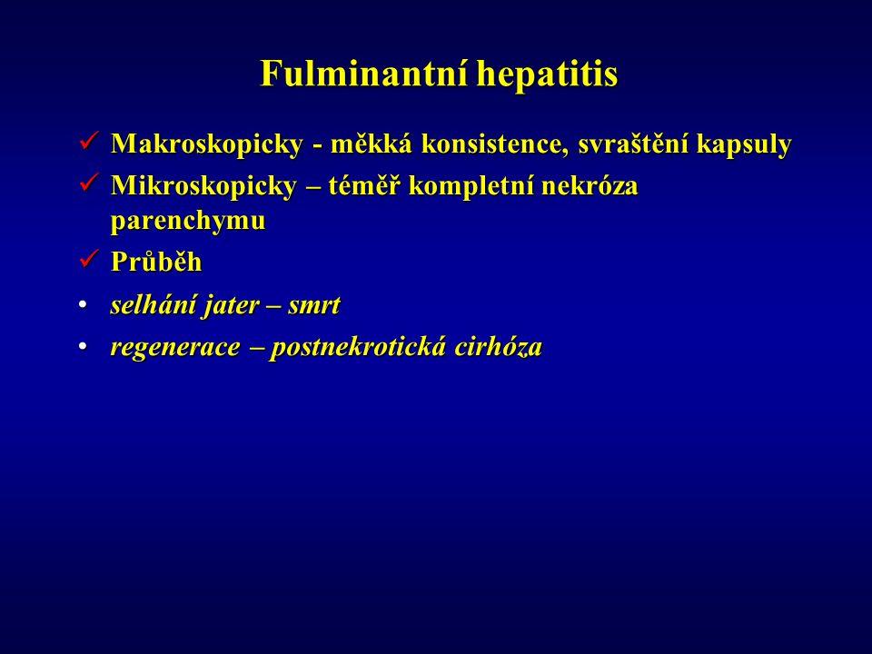 Fulminantní hepatitis Makroskopicky - měkká konsistence, svraštění kapsuly Makroskopicky - měkká konsistence, svraštění kapsuly Mikroskopicky – téměř kompletní nekróza parenchymu Mikroskopicky – téměř kompletní nekróza parenchymu Průběh Průběh selhání jater – smrtselhání jater – smrt regenerace – postnekrotická cirhózaregenerace – postnekrotická cirhóza