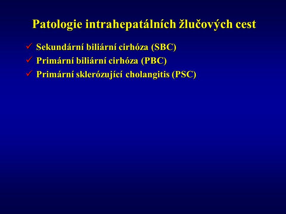 Patologie intrahepatálních žlučových cest Sekundární biliární cirhóza (SBC) Sekundární biliární cirhóza (SBC) Primární biliární cirhóza (PBC) Primární biliární cirhóza (PBC) Primární sklerózující cholangitis (PSC) Primární sklerózující cholangitis (PSC)