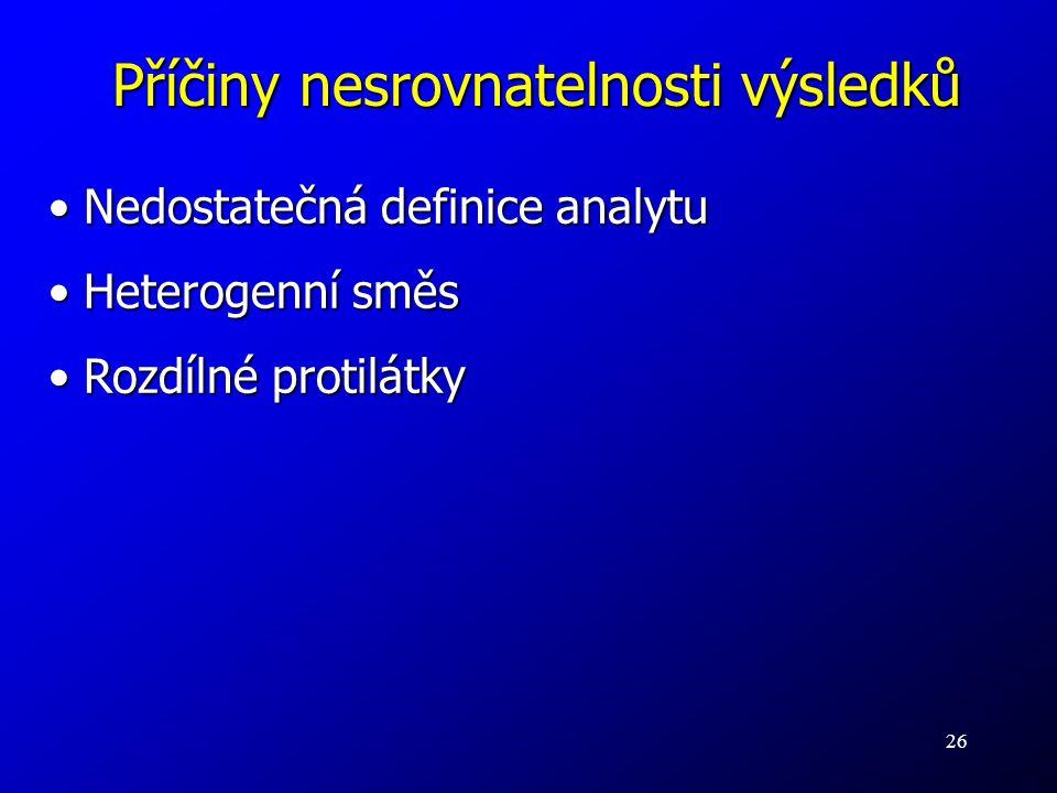 26 Příčiny nesrovnatelnosti výsledků Nedostatečná definice analytu Nedostatečná definice analytu Heterogenní směs Heterogenní směs Rozdílné protilátky