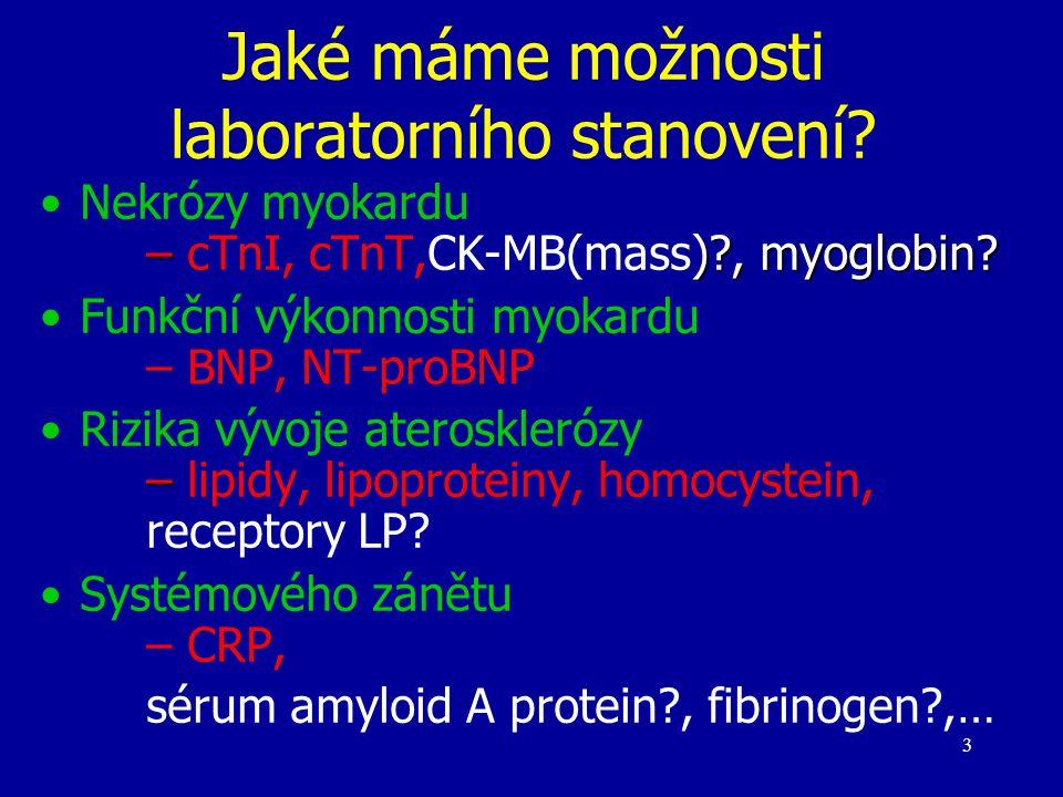 3 Jaké máme možnosti laboratorního stanovení? – )?, myoglobin?Nekrózy myokardu – cTnI, cTnT,CK-MB(mass)?, myoglobin? Funkční výkonnosti myokardu – BNP