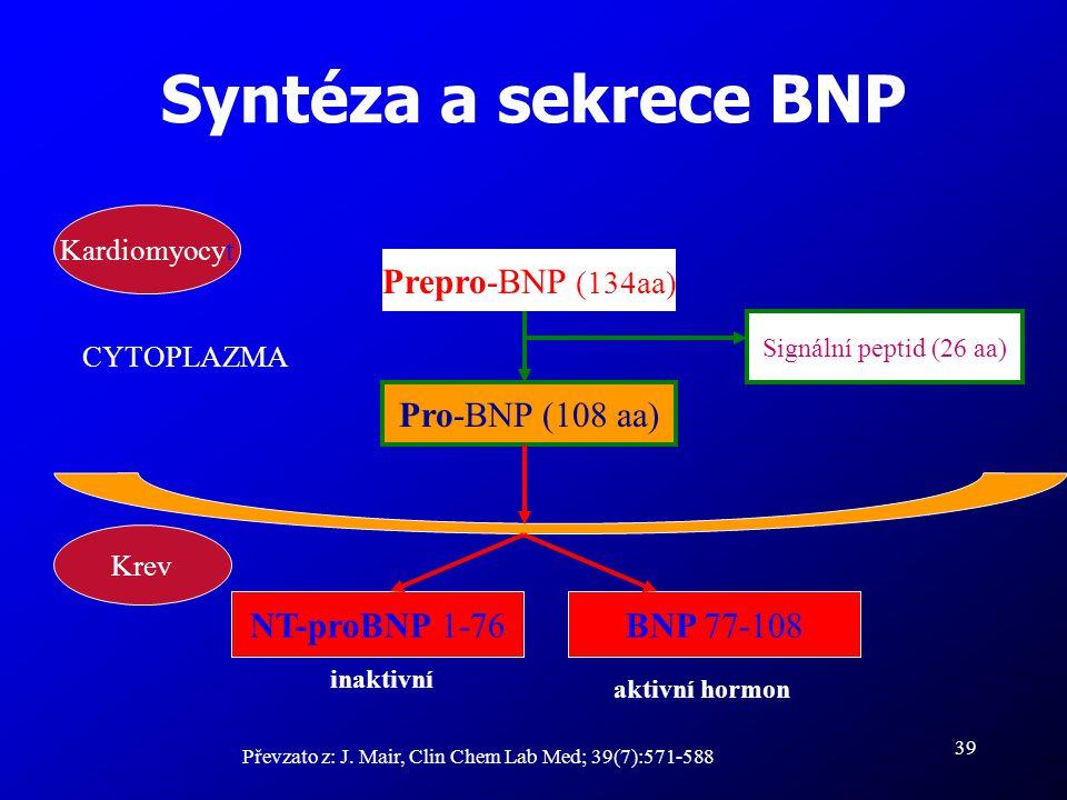 39 Syntéza a sekrece BNP Převzato z: J. Mair, Clin Chem Lab Med; 39(7):571-588 Prepro-BNP (134aa) Pro-BNP (108 aa) Signální peptid (26 aa) BNP 77-108N