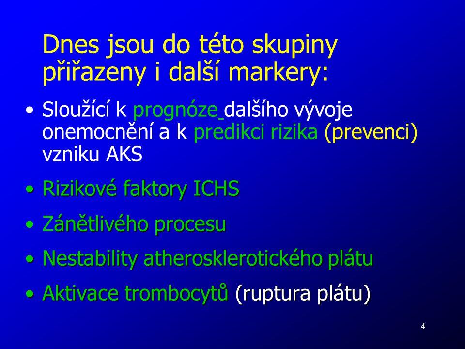 4 Dnes jsou do této skupiny přiřazeny i další markery: Sloužící k prognóze dalšího vývoje onemocnění a k predikci rizika (prevenci) vzniku AKS Rizikov